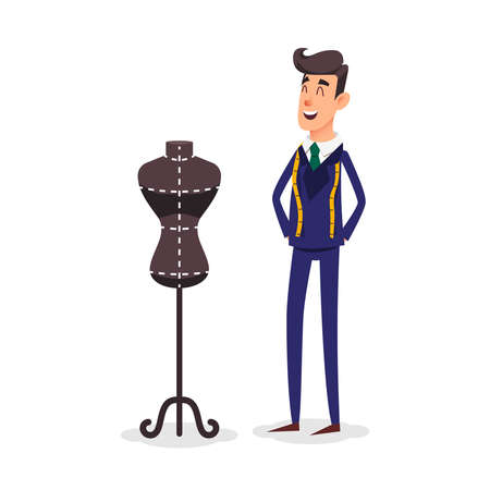 Cartoon happy tailor couture with a centimeter ribbon around his neck. Illustration