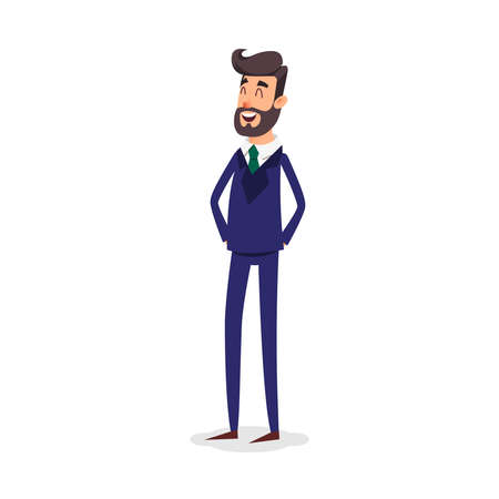 Cartoon successful businessman in suit. Professional fashion salesman smiling on a white background.