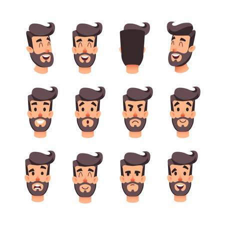 Man s head with different emotions. Cartoon vector male faces character set. Facial emotions for game or animation. Back, front, side head. Avatar of a young men with different expressions face. Ilustração
