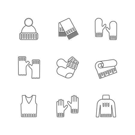 Knit winter clothes icon set. Knitting clothes, knitted samples thin line warm woolen things. Hat, scarf, mittens, waistcoat, plaid and other hand-knitted garments Stock Photo
