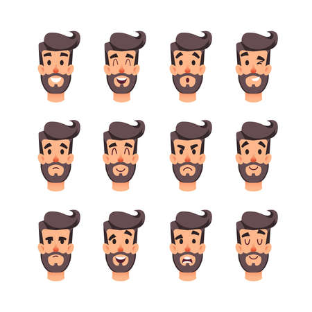 Man s head with different emotions. Cartoon vector male faces character set. Facial emotions for game or animation. Avatar of a young men with different expressions face. Brooding, fear, shock, mistrust, cunning, discretion, embarrassment and other mood.