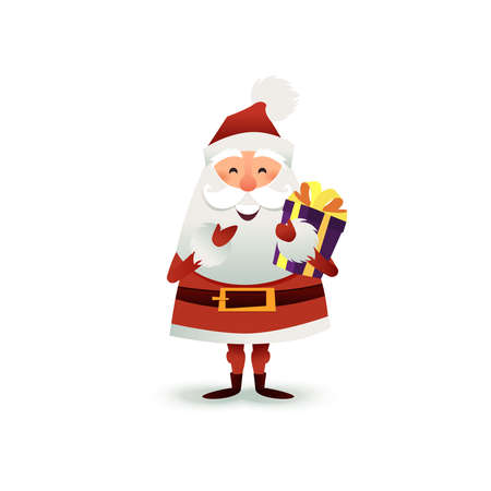 Santa Claus with gift and present box. Happy Christmas father cartoon character. Cute X-mas character for holiday design. New year Greeting Card for invitation, congratulation. Flat vector illustration.