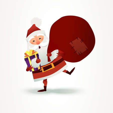 Santa Claus with sack full of gift and present boxes. Happy Christmas father cartoon vector character. Cute X-mas character for Holiday design. New year Greeting Card for invitation, congratulation. Flat vector illustration. Ho Ho Ho