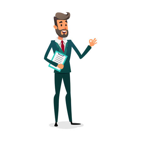 Funny cartoon investor showing ok sign. The manager is in a suit with a beard. Design for business vacancy. Illustration