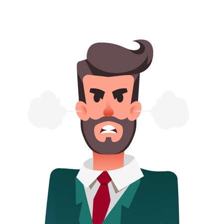 Cartoon funny angry office worker. Furious businessman with steam blowing from ears. Young man is experiencing anger.