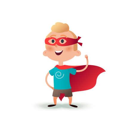 Cartoon superhero boy standing with cape waving in the wind. Happy little hero kid. Children character in red supermen cloak. Illustration