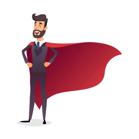 Cartoon superhero standing with cape waving in the wind. Successful happy hero businessman. Concept of success, leadership and victory in business.