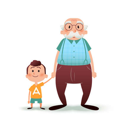 Grandfather and grandson holding hands. Little boy and old man cartoon illustration. Happy family concept