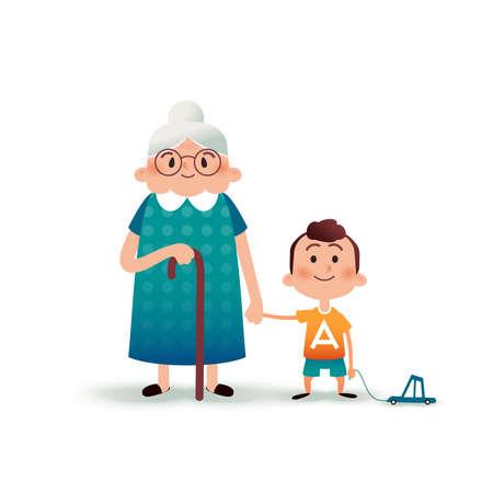 祖母と孫が手を繋いでいます。おもちゃの車や古い女性漫画イラストの小さな男の子。幸せな家族の概念。漫画フラット図
