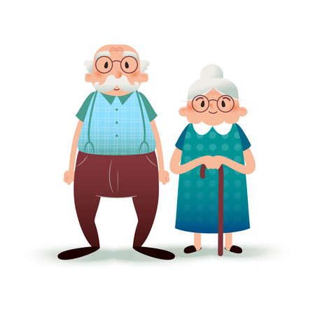 Happy cartoon senior couple. Fanny flat characters. Old man and old lady. Flat illustration on white background
