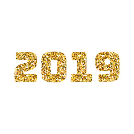 Happy new 2019 year. Gold glitter particles. Shine gloss brilliance sparkles sign.