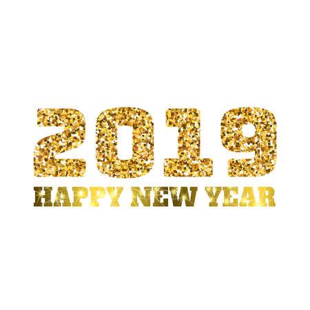 2019 년 새해 복 많이 받으세요. 골드 반짝이 입자. 광택 광택 광택을 반짝입니다. 휴일 벡터, 달력, 파티 초대장, 카드, 포스터, 배너, 웹 디자인 요소입 일러스트