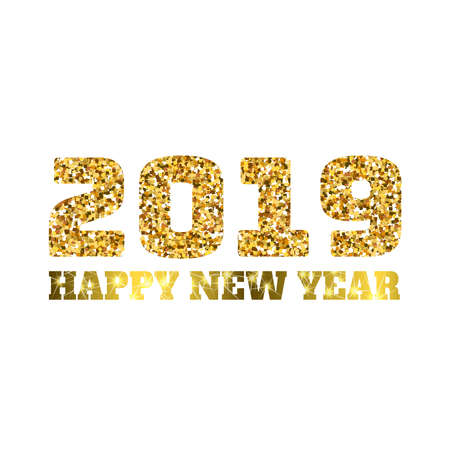Happy new 2019 year. Gold glitter particles. Shine gloss brilliance sparkles sign. Holidays vector design element for calendar, party invitation, card, poster, banner, web. Vectores