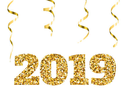 Happy new 2019 year. Gold glitter particles. Shine gloss brilliance sparkles sign. Holidays vector design element for calendar, party invitation, card, poster, banner, web. Illustration