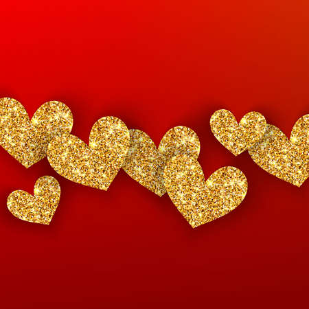 Realistic golden hearts on red background. Happy Valentines Day concept for greating card. Romantic Valentine gold hearts. Weeding vectordesign elements Illustration
