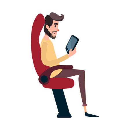 A man is a passenger on a bus or plane. A young man sits in the airplane s chair and looks at the tablet. The bus seat is occupied by the reading man. Illustration