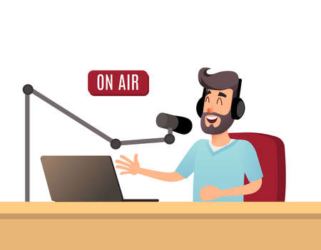 The radio presenter is talking on the air. A young radio DJ in headphones is working on a radio station. Broadcasts flat design illustration. Archivio Fotografico