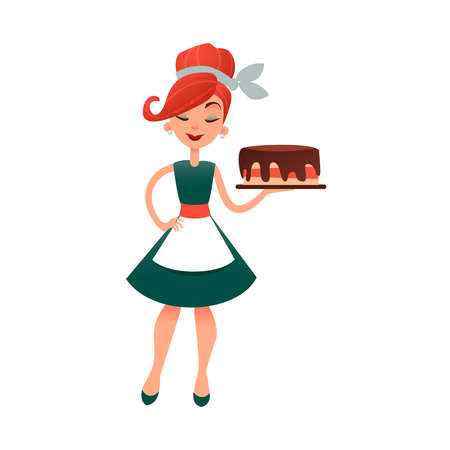 Funny cartoon housewife with cake. Happy homemaker with bakery product. Beautiful woman in old retro style. Young lady baking pie.