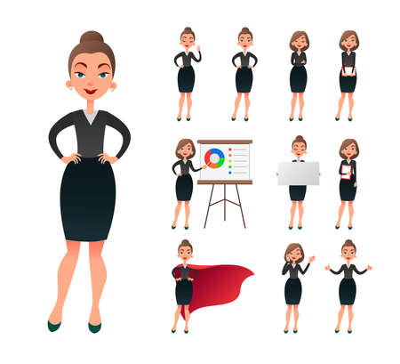 Pretty businesswoman working character set. Successful entrepreneur lady in office work situations. Confident young manager in the workplace.