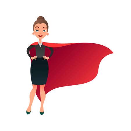 Frau Superheld Zeichentrickfigur. Wunderfrau mit Umhang des Supermanns. Überzeugte Geschäftsdame konzentrierte sich auf Erfolg. Wohnung schöner weiblicher Superheld.