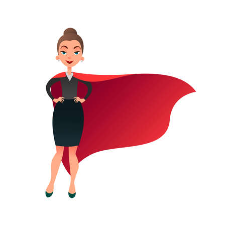 Woman superhero cartoon character. Wonder woman with cape of superman. Confident business lady focused on success. Flat beautiful female super hero.