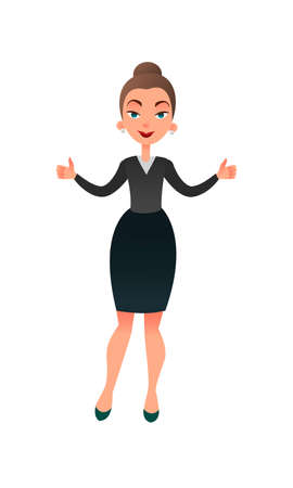 Cartoon flat business lady makes her thumbs up. Confident businesswoman focused on success. Cheerful manager giving thumbs up
