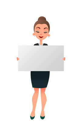 Woman manager or teacher holding a white board against white background. Businessman holds a horizontal poster. Lecturer showing blank signboard with copyspace. Illustration