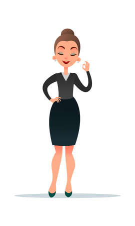 Well done. Good work. Beautiful cartoon businesswoman smiling and showing OK sign. Stock Photo