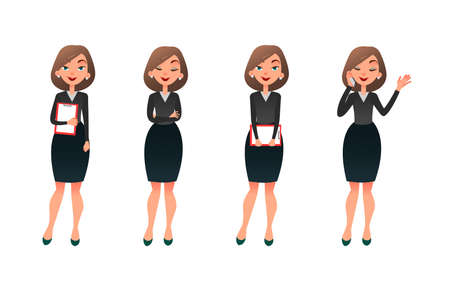 Set character businesswoman in various poses. Cartoon secretary or teacher on different working situations. Smiling business woman flat character on a white background.
