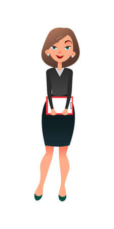Job interview. Young cartoon woman candidate for work. A confident slightly worried businesswoman is waiting for the interview. Job search and acquaintance with the vacancy concept Stock Photo