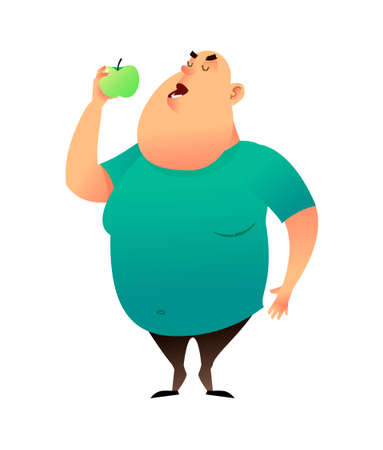 A fat man bites an apple. Useful habits and healthy eating concept. The fatty guy dreams of losing weight and chooses a healthy diet. Healthy lifestyle and proper nutrition lifestyle. Stock Photo