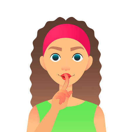 Cartoon beautiful woman saying hush be quiet with finger on lips gesture. Flat vector secret girl. Female silent gesture with finger. Shhh symbol