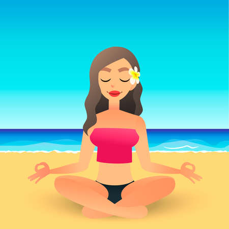 Cartoon young beautiful girl on beach practicing yoga. Flat vector women meditates and relaxes. Physical and spiritual therapy concept. Mind body spirit. Lady in lotus position.