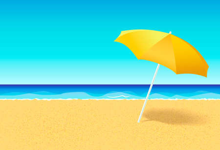 Beach umbrella on a deserted beach near ocean. Vacation flat vector concept. Empty beach without people with parasol and blue sky at sea background. Horizontal poster, banner or flyer for a holiday party with an empty space for text or ads.