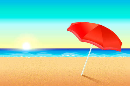 Beautiful vector beach. Sunset or dawn on the coast of the sea. A red umbrella stands in the sand. The sun sets over the ocean. Illustration