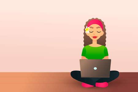 Het leuke creatieve meisje zit op de houten vloer en bestudeert met laptop. Prachtige cartoon meisje met laptop.