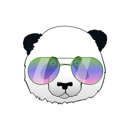 Hand drawn panda in sun glasses. Hipster vector panda bear illustration. Portrait with mirror sunglasses. Cool funny print for t-shirt or card. Illustration