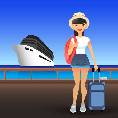 Young woman wearing casual clothes at port. Cartoon flat girl goes on cruise on ship. Traveler lady in the hat is standing on the pier with a suitcase and a backpack.