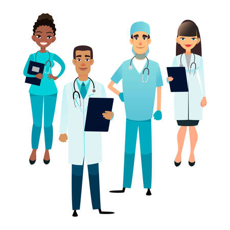 Doctors and nurses team. Cartoon medical staff. Medical team concept. Surgeon, nurse and therapist on hospital. Professional health workers Ilustracja