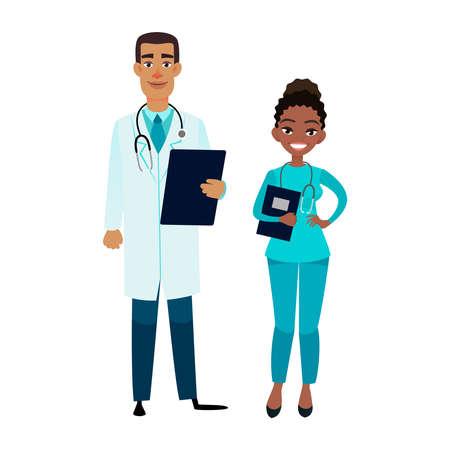 Karikaturvektor-Afroamerikanerdoktor und -krankenschwester. Glücklicher afrikanischer männlicher Doktor mit Tablette und weiblichem Assistenten