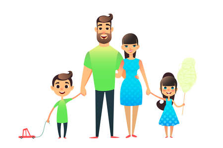 Happy cartoon flat family portrait. Mother, father, son, daughter together. Mom and dad embrace, the brother is carrying a toy car on a string, the sicter is holding cotton candy 版權商用圖片 - 100338742