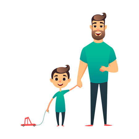 Cartoon father and son. Man and boy. Happy family. Happy Father s Day greeting card. Young man holds his child s hand Stock Photo