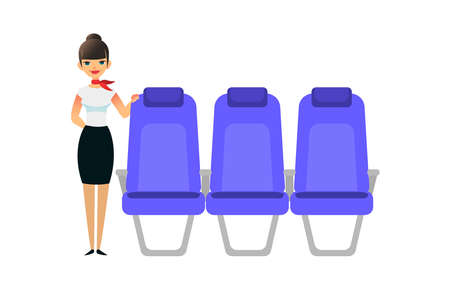 The stewardess is waiting for the passengers. Flight attendant female stands near the seats. Vector flat colorful illustration of blue seat. Cartoon interior airplane seats.