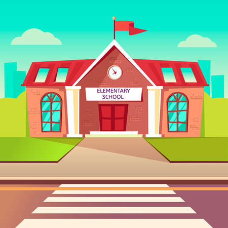 Elementary school flat vector buildung. Back to school cartoon background. Crosswalk before schoolhouse Vectores
