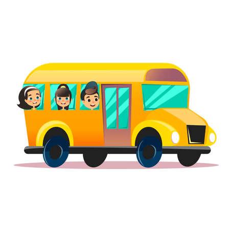 Autobús escolar de vector plano. Niños de la escuela en un autobús escolar. Concepto plano de vector de regreso a la escuela. Los escolares felices están mirando desde las ventanas