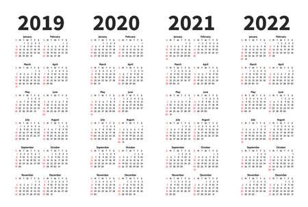 Calendario 2019, 2020, 2021 y 2022 años plantilla de diseño vectorial. Estilo minimalista simple. La semana comienza en domingo. Orientación Vertical. Conjunto de 12 meses. Ilustración de vector