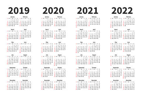 Calendar 2019, 2020, 2021 and 2022 year vector design template. Simple minimalizm style. Week starts from Sunday. Portrait Orientation. Set of 12 Months.