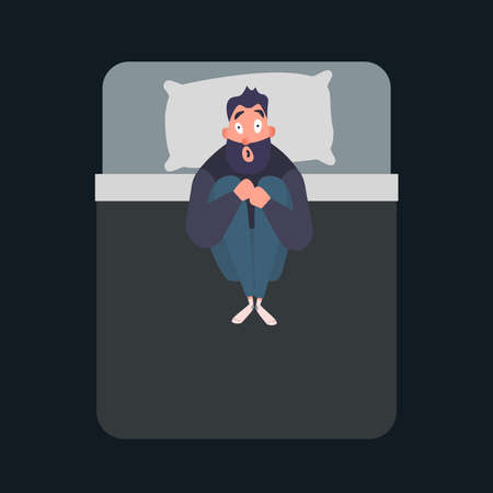 Frightened man character. Panic attack. Fear, phobia concept. Mental disorder flat vector illustration. Male suffers from nightmares and insomnia. Stock Photo