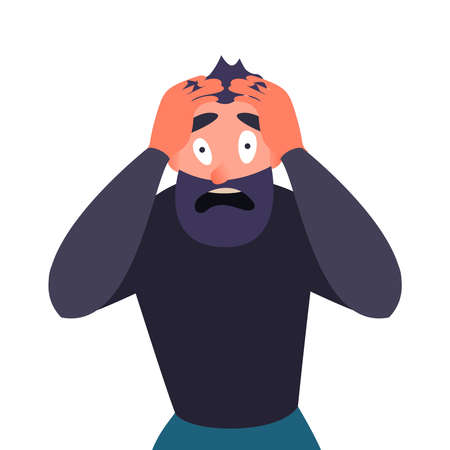 Guy in panic attack, terrified. Cartoon character screams in horror and clings to his head. Man with a migraine, headache mental health problems. Stock Photo