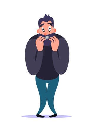 L'uomo barbuto nervoso stressante del fumetto morde l'unghia con paura e preoccupazione, dimostra il suo disturbo d'ansia. Malato mentale concetto. Tensione e paura del personaggio maschile. Problemi di psicologia Vettoriali